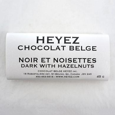 Dark Belgian chocolate bar with hazelnuts