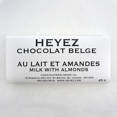 Belgian chocolate bar with milk and almonds