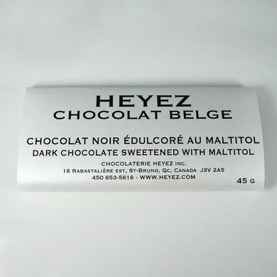 Black Belgian chocolate bar sweetened with maltitol