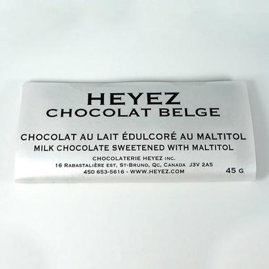 Belgian milk chocolate bar sweetened with maltitol